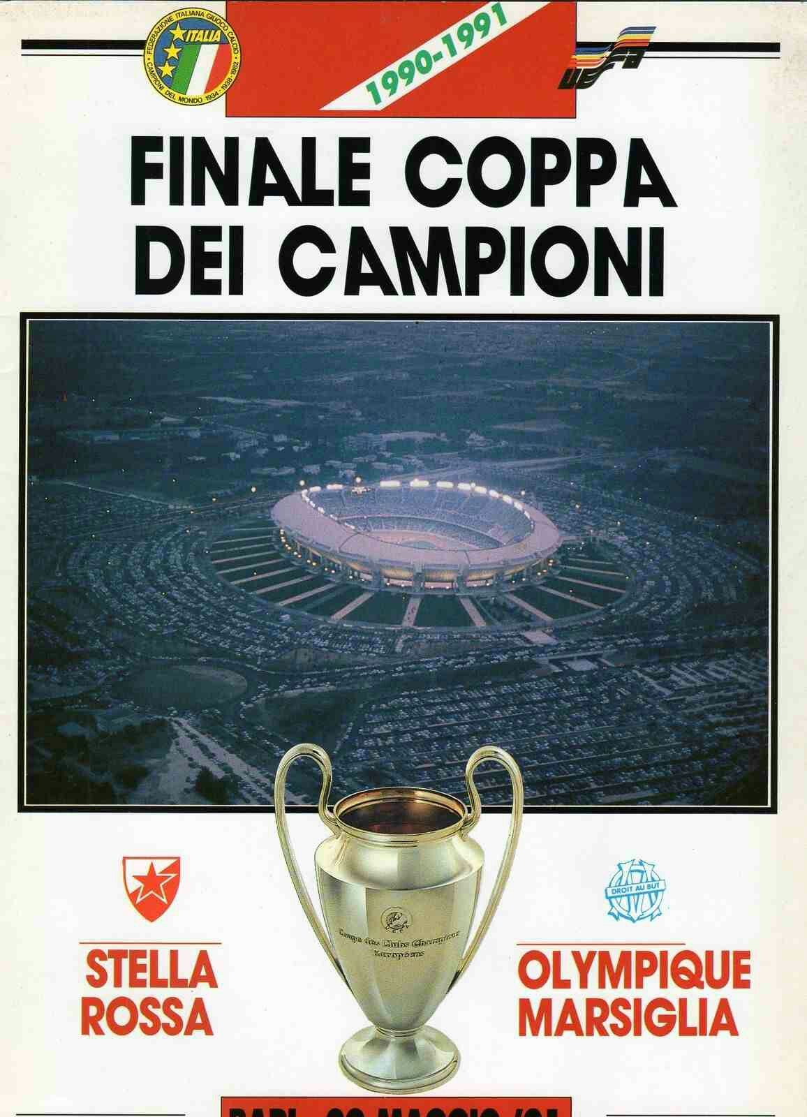 Red Star Belgrade 0 Marseille 0 5 3 Pens In May 1991 In Bari The Programme Cover For The European C Red Star Belgrade Football Program Uefa Champions League