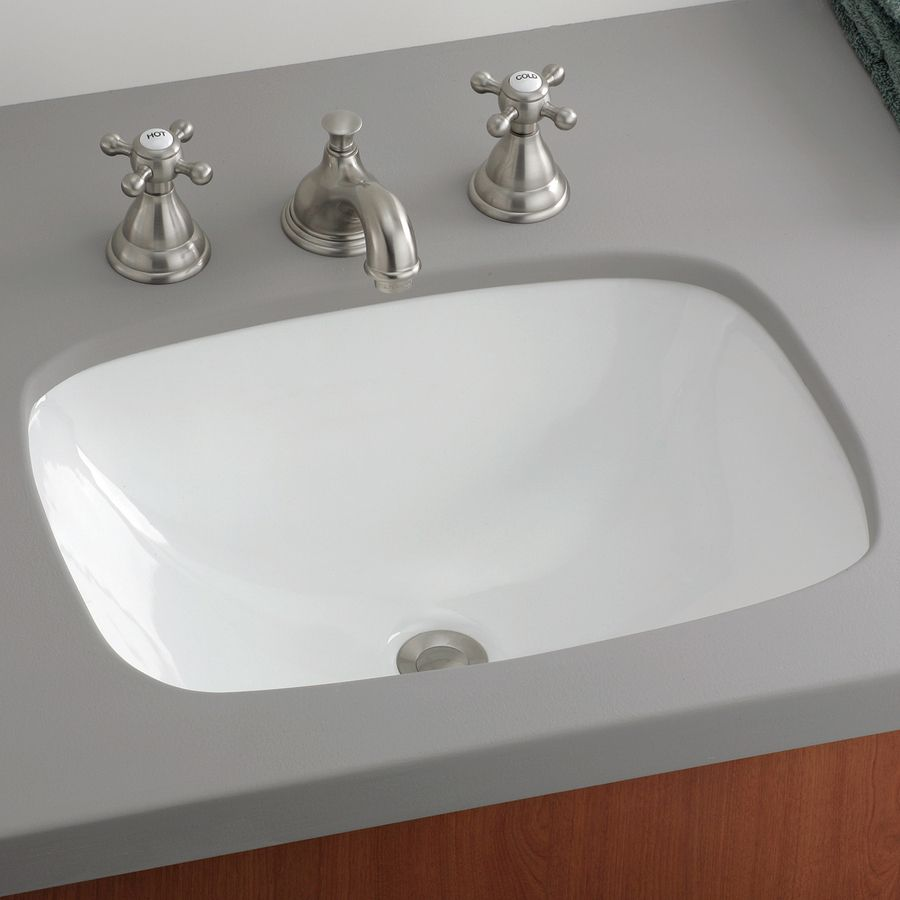 Cheviot Ibiza White Undermount Rectangular Bathroom Sink