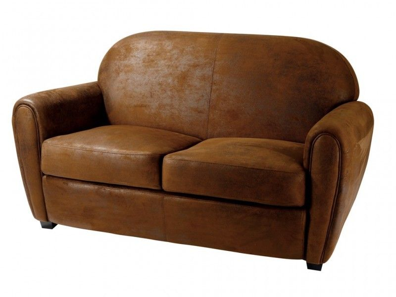 Canape Marron Style Club Deux Places En Microfibre Disponible A La Vente Ou A La Location Http Www Location Mobilier Paris Co Canape Club Canape Conforama