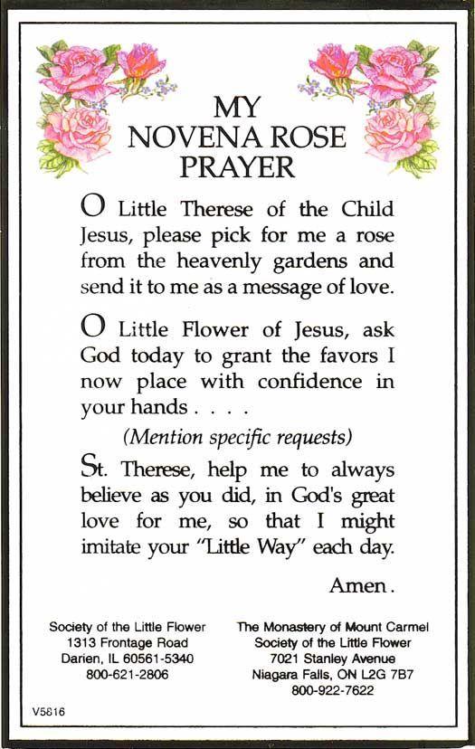 St  Theresa Novena Rose Prayer- my favorite prayer I learned