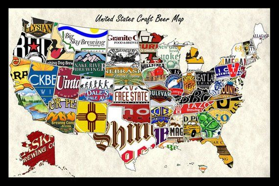 United States, USA, US Craft Beer Brands Wall Map Poster