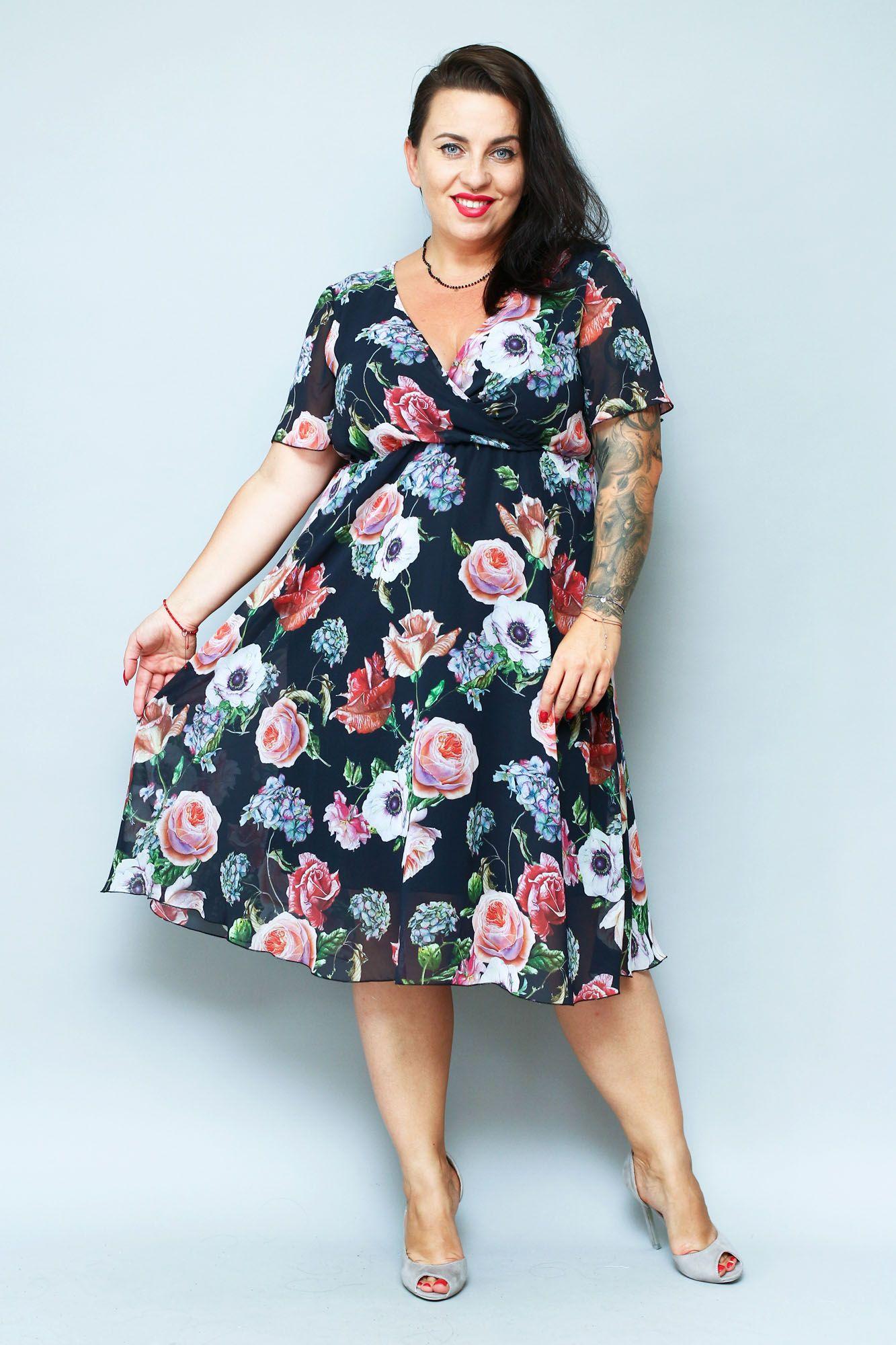 Sukienka Amera Odcinana Dekolt Koperta Szyfon Czarna W Kwiaty Sklep Internetowy Plus Size Fashion Dresses Casual Dress