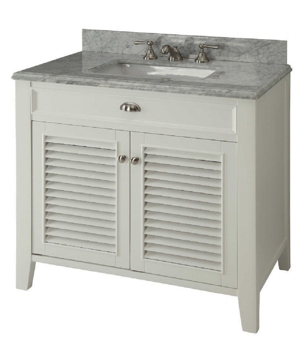 30 Inch Bathroom Vanity Louvered Shutter Doors Style White Color