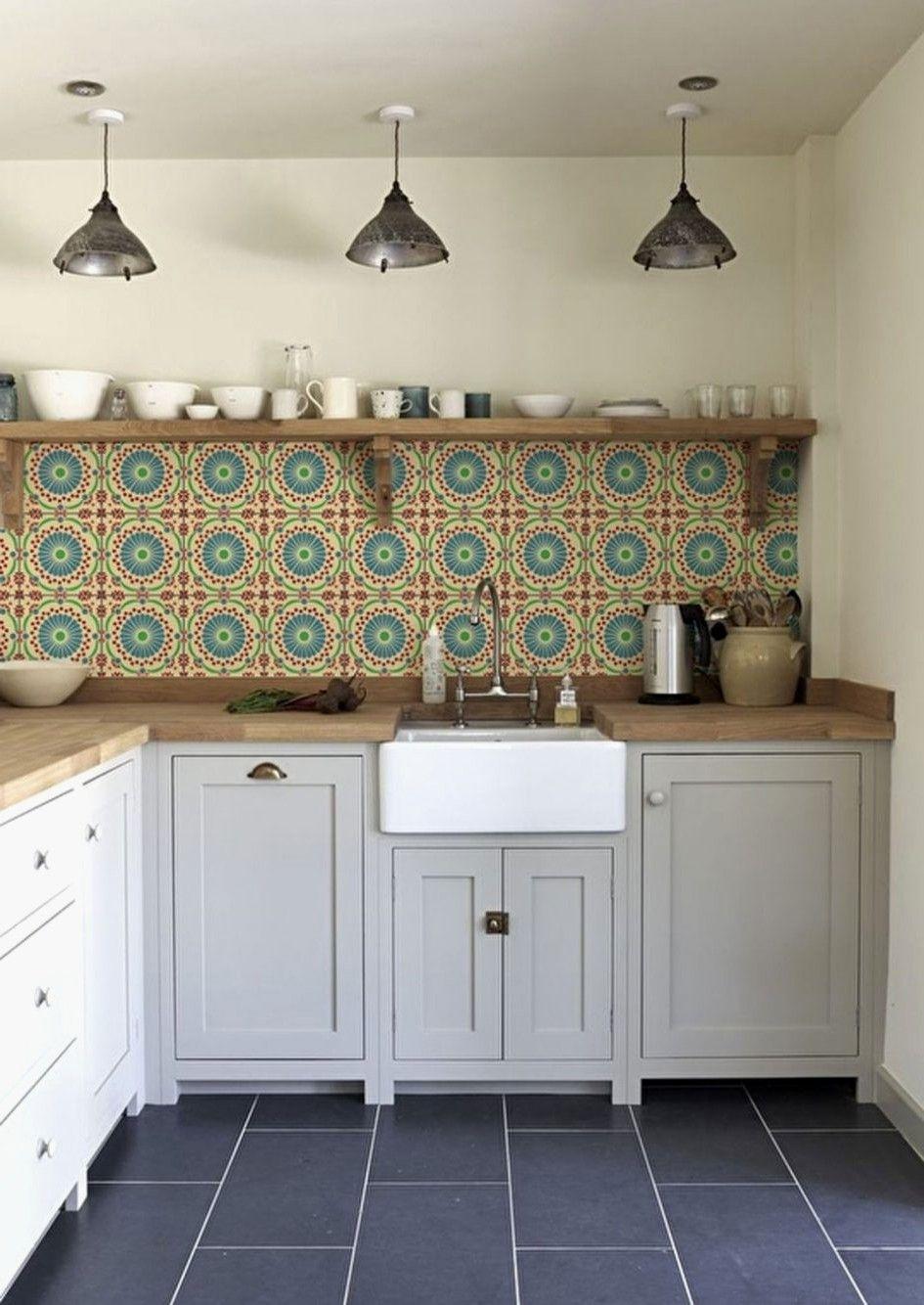Design Simple Modern Kitchen Retro Tiles Large Wall Fresh