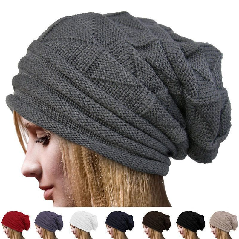 Women Winter Warm Beanie Knit Crochet Ski Hat Oversized Baggy Long Slouchy  Cap 5a0194d36740