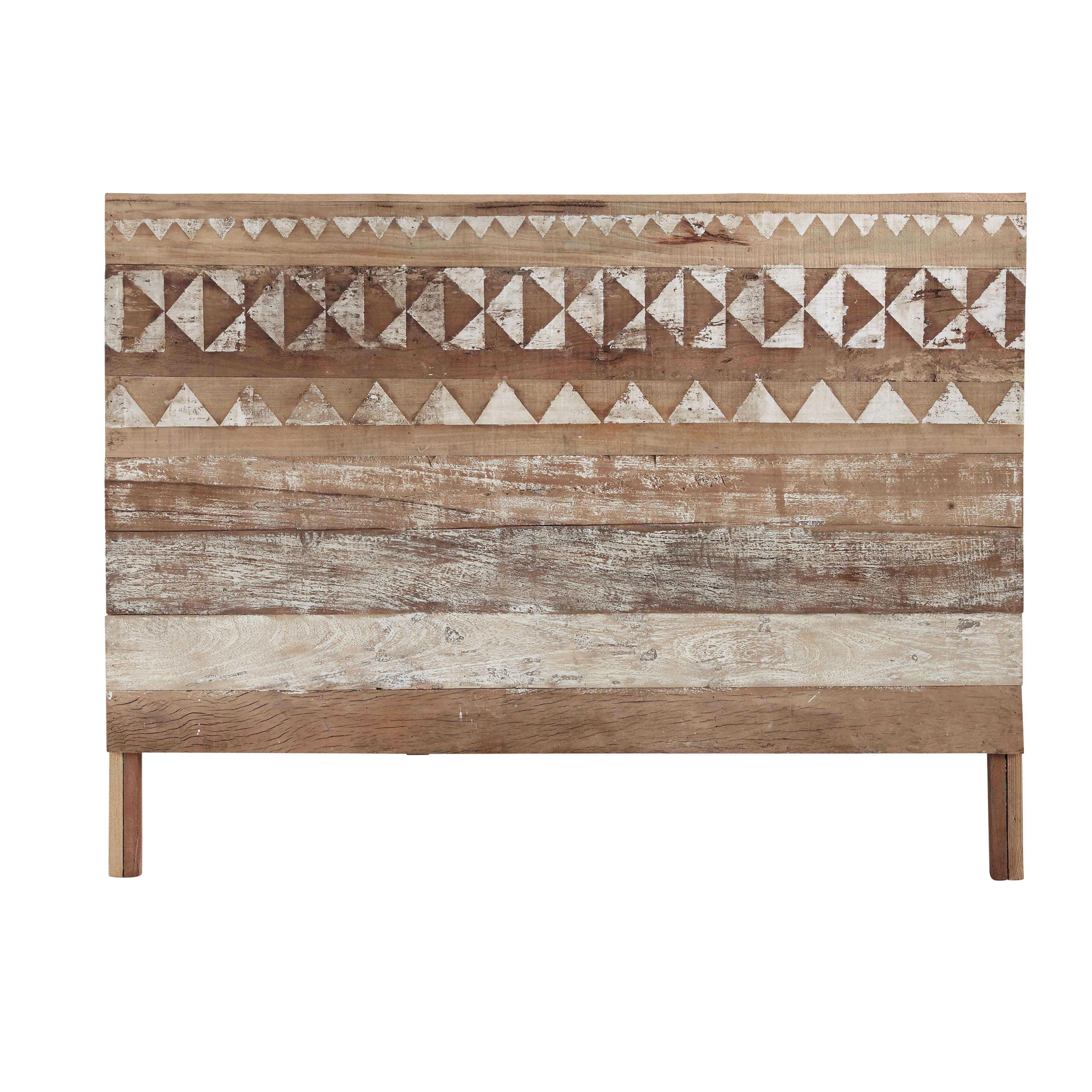 t te de lit motifs en bois recycl l 160 cm bois. Black Bedroom Furniture Sets. Home Design Ideas