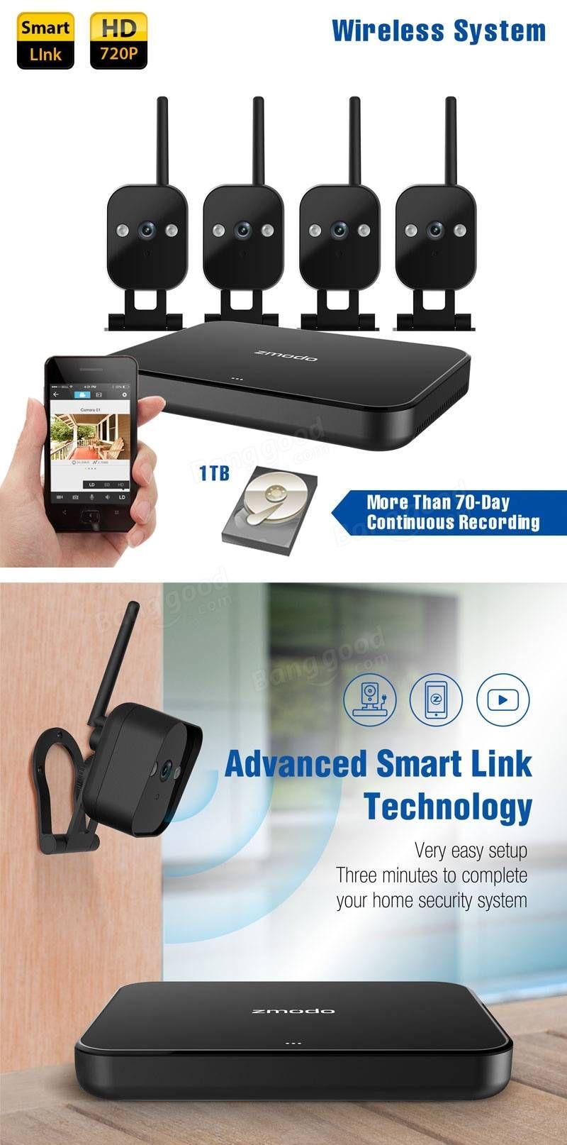 Zmodo 720P 4CH Smart Home Wireless Security Camera System