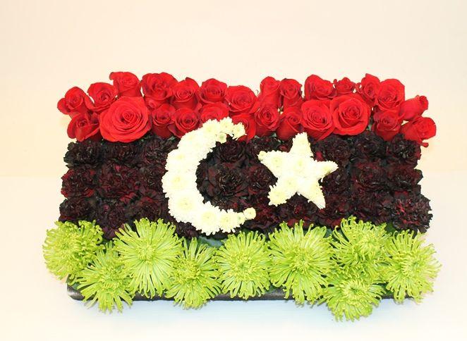 Bandeira da Líbia em flores