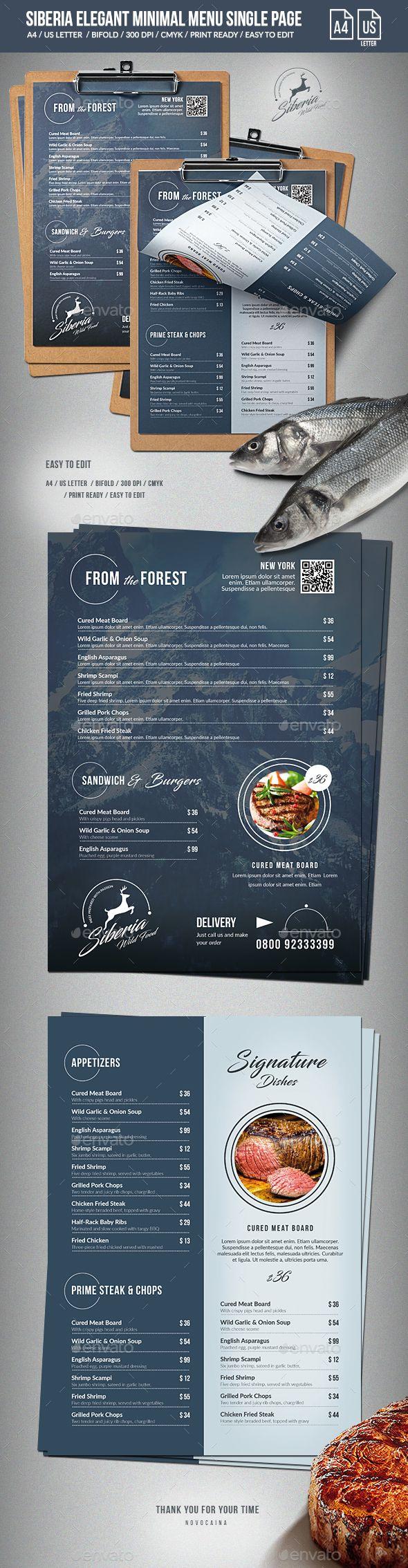 Siberia Elegant Minimal Menu - A4 and US Letter | Bar, Restaurante y ...