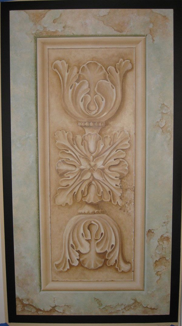 trompe loeil door murals trompe l oeil crumbling stone ornament with molding design by michel. Black Bedroom Furniture Sets. Home Design Ideas