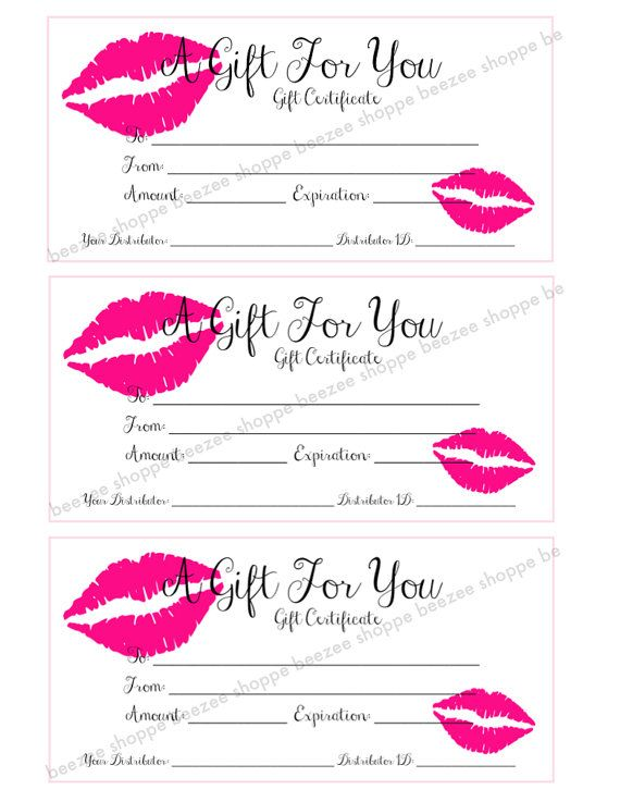 Printable Gift Certificate - LipSense SeneGence Gift Card - gift certifcate template