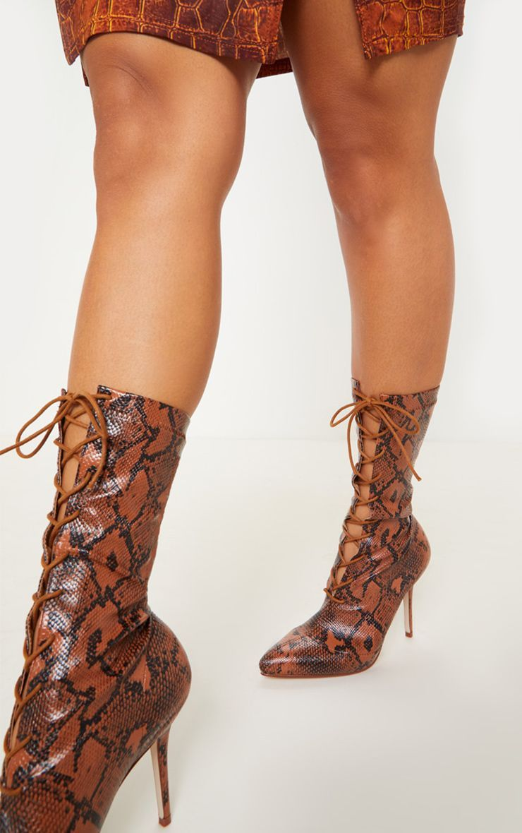 New Womens Block Mid Heel Lace-up Ankle Boots Snake Print Fashion Booties Shoes