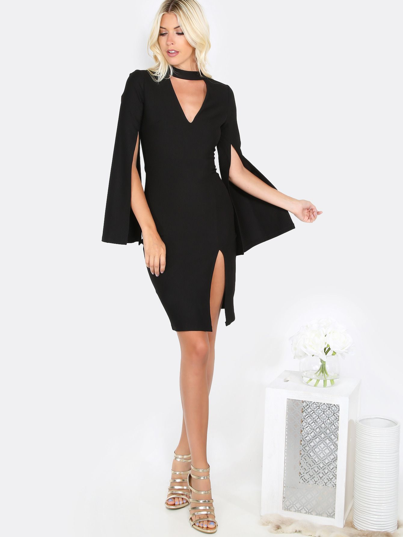 Choker cut out bodycon dress black black elegant rayon v neck long