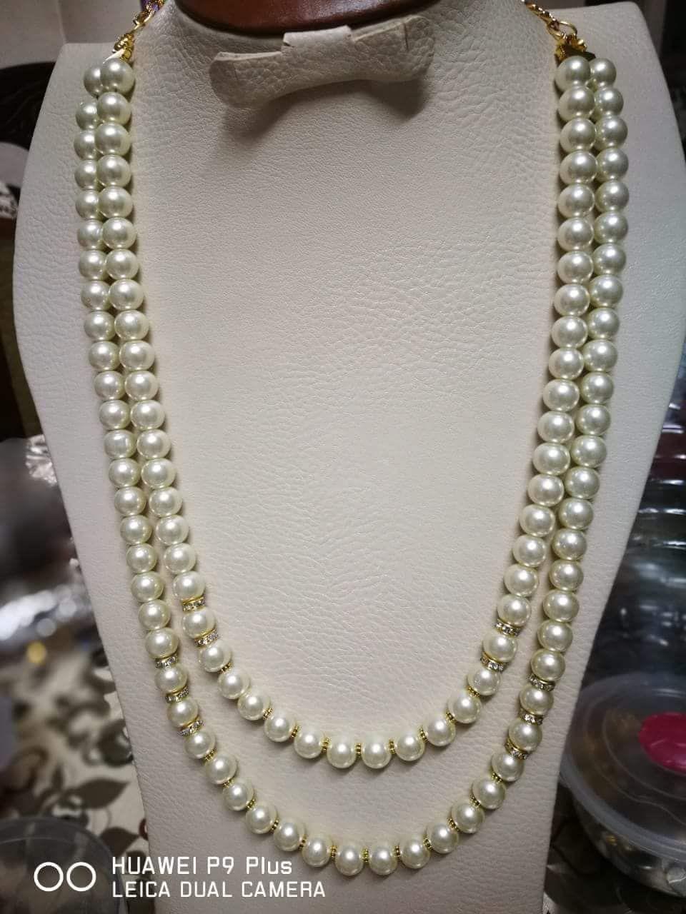 عقد لولي اوف وايت طويل دورين للمحجبات هاند ميد Handmade Accessories Pearl Necklace Necklace