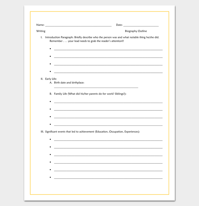 Biography Report Template 5th Grade 7 Professional Templates Biography Template Biography Report Template Biography Report