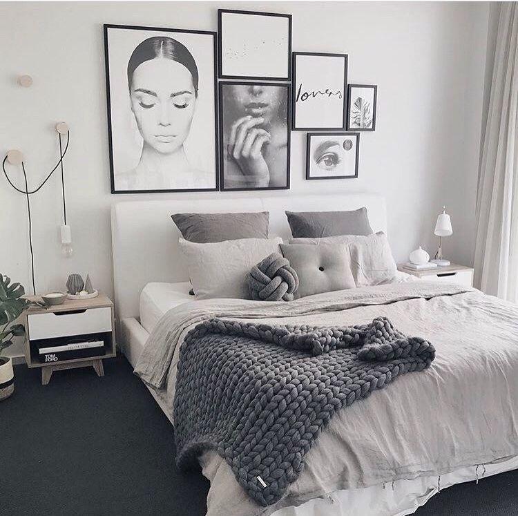 Contemporary Scandinavian Feminine Bedroom Monochrome