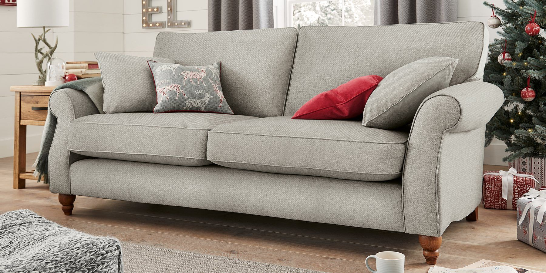 Buy Ashford Large Sofa (3 Seats) Cosy Twill Light Grey Low Turned ...