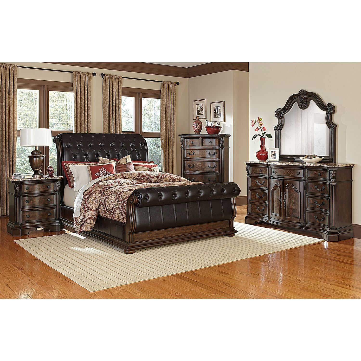 American Signature Furniture Com: Monticello Upholstered Sleigh Bed