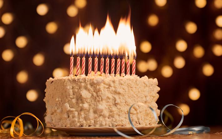 télécharger fonds d'écran gâteau d'anniversaire, des bougies, des