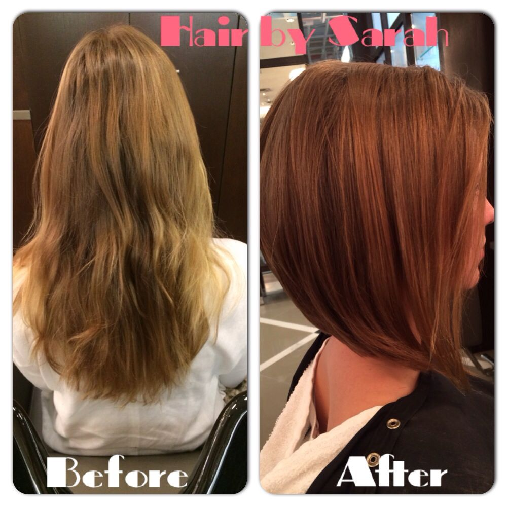 Before after cut and colour . Long to short and stylish ...