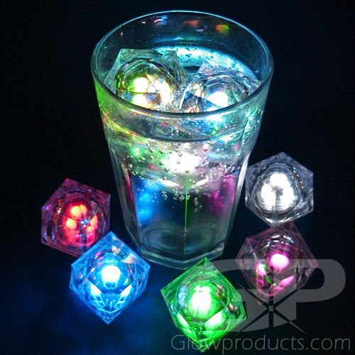 make glowing drinks with light up ice cubes glow party ideas