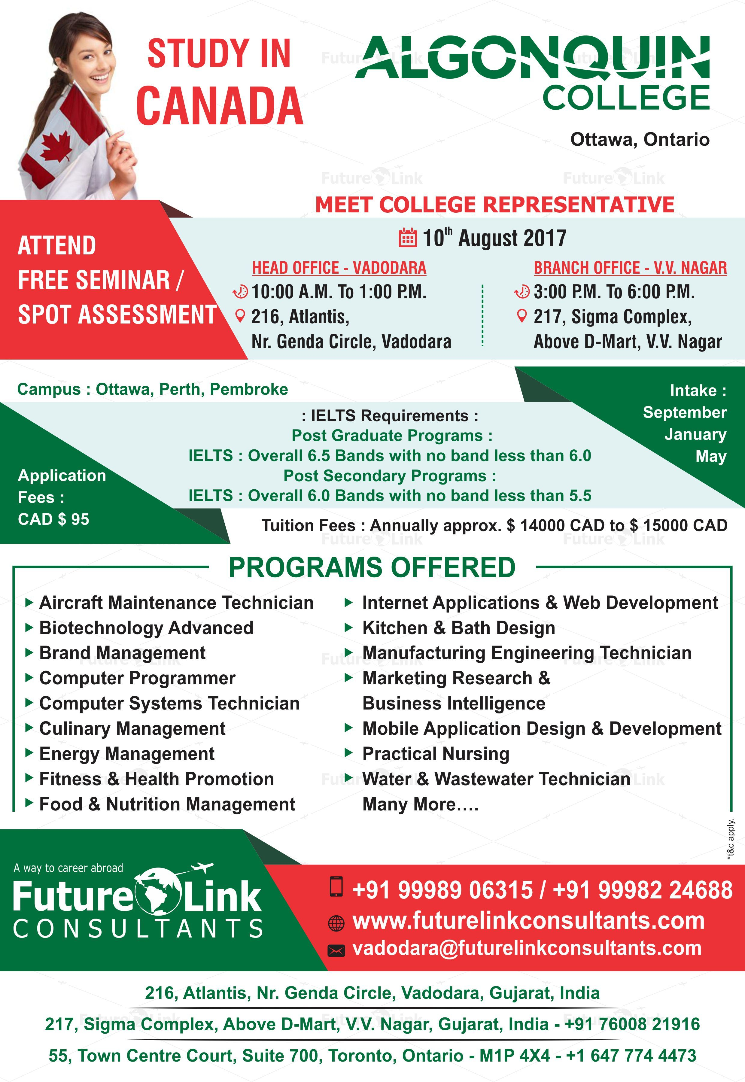 Attend Free Seminar And Spot Assessment Of Algonquin College, Canada At  Future Link Consultants!