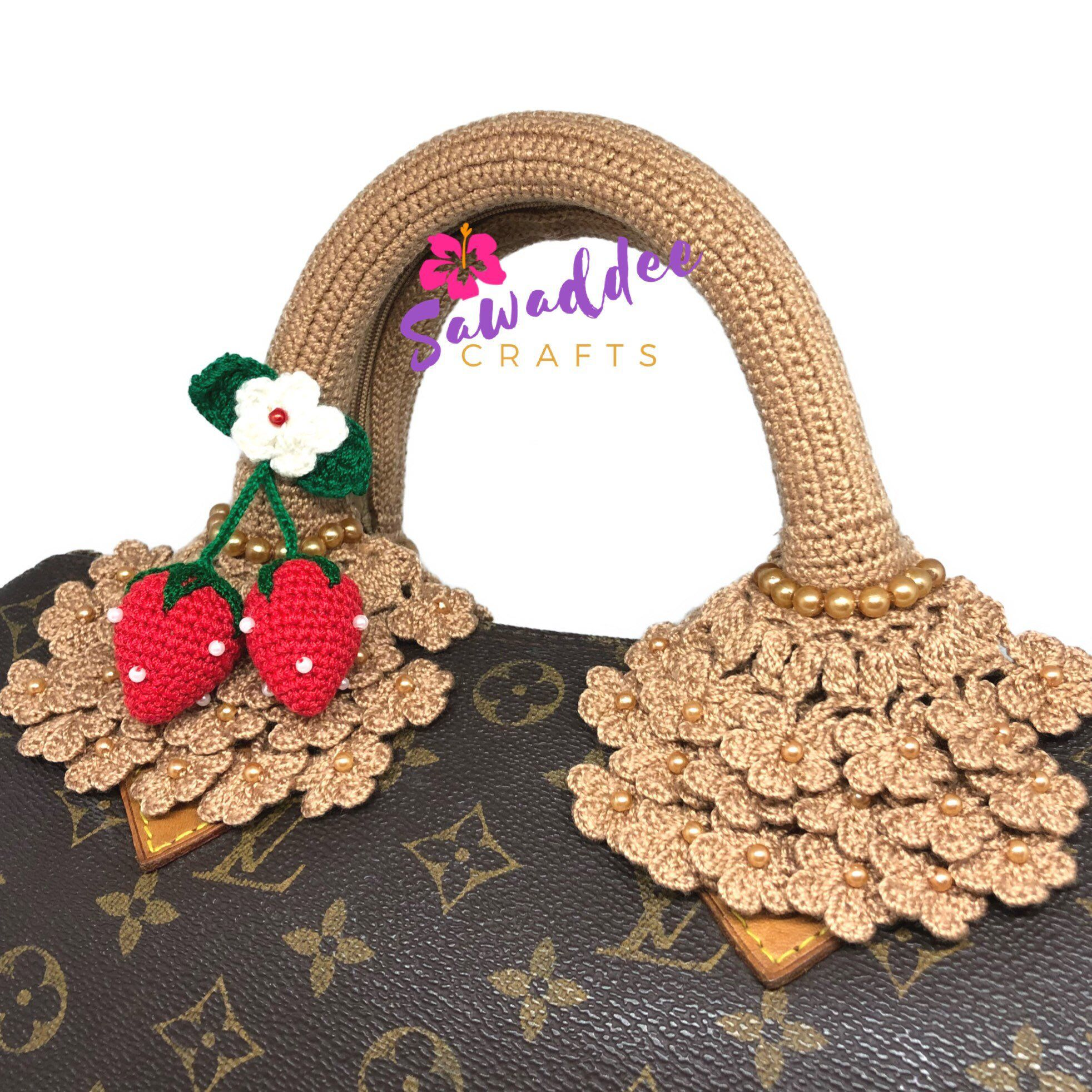 d045940ae259 Excited to share this item from my  etsy shop  Free Shipping  Handmade  Crochet Bag Handle Cover Protector for LV Louis Vuitton Speedy 25-30-35