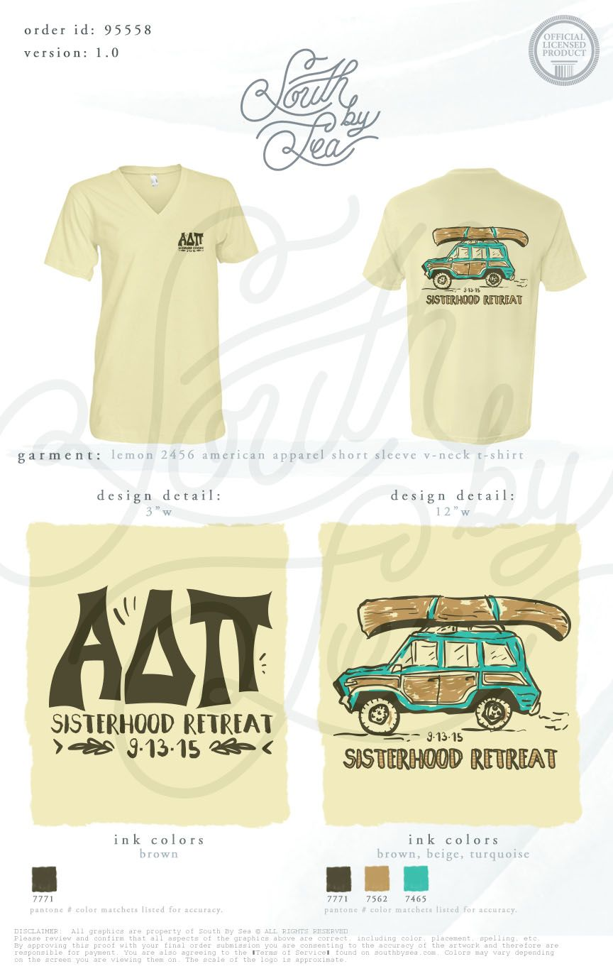 Alpha delta pi adpi sisterhood retreat outdoor tee for Sorority t shirt design