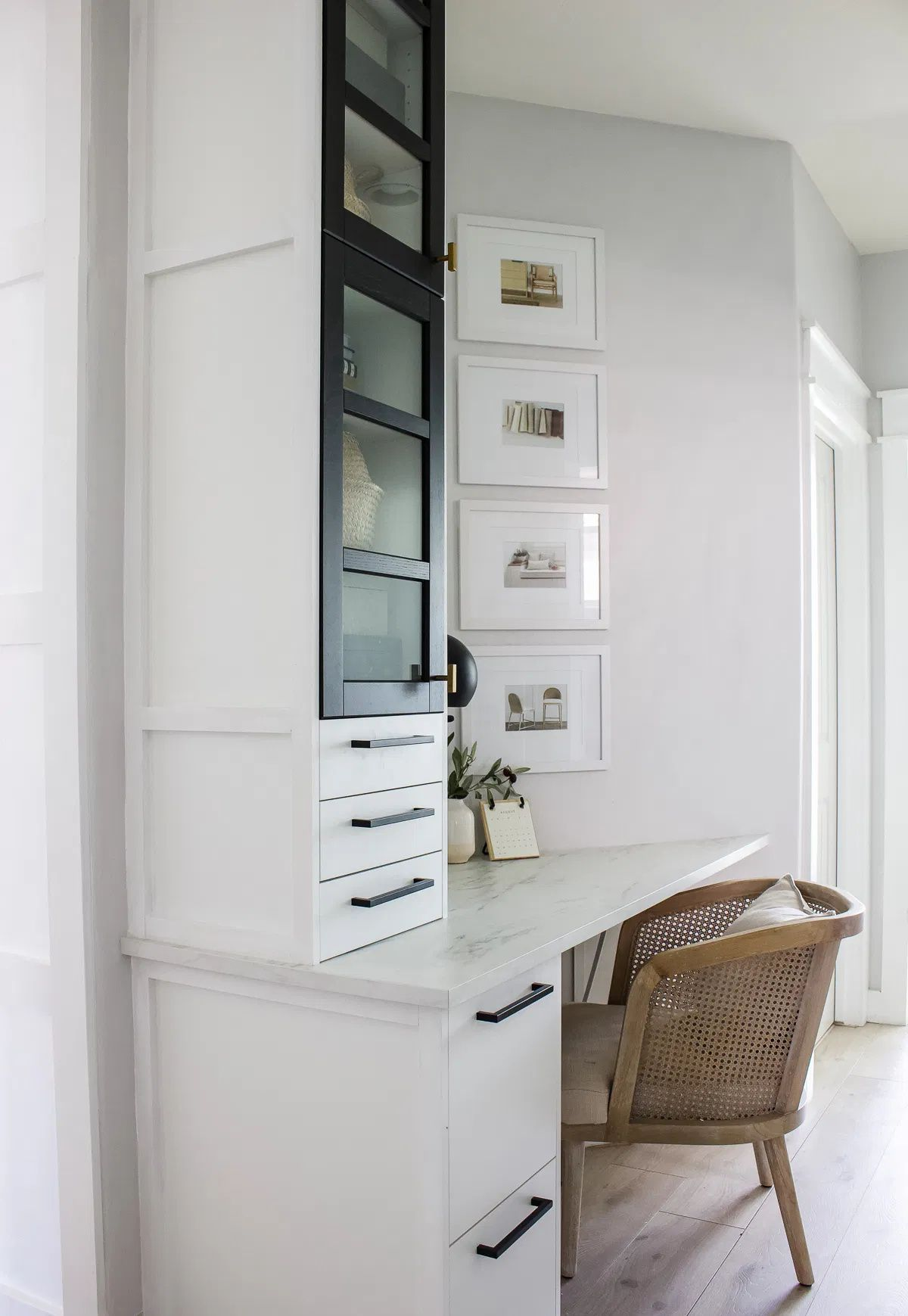 Small Home Office With Built In Ikea Cabinets Designed Simple In 2020 Ikea Cabinets Small Home Office Cabinet Design