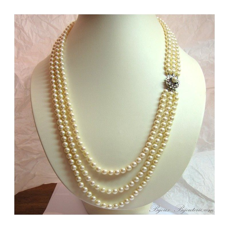 collier perle 4 rangs
