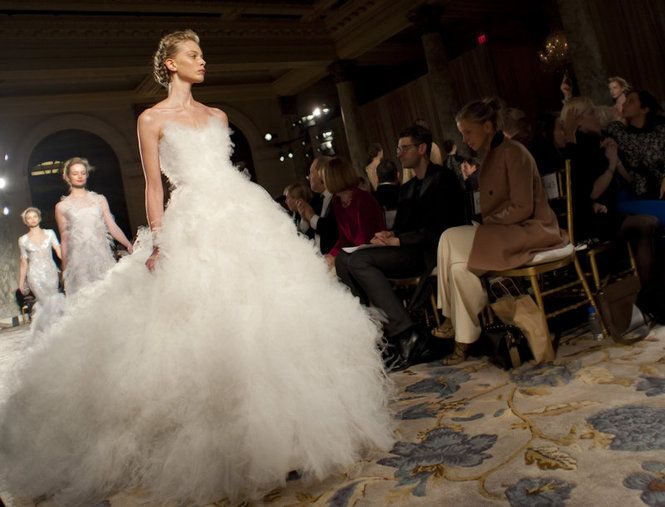 Fall 2012 fashion from Marchesa is modeled during Fashion Week, Wednesday, Feb.15, 2012 in New York