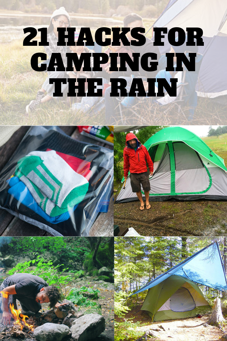 21 awesome hacks for camping in the rain. Use these tips to help you stay dry and have an enjoyable time when camping in the rain. #TentsnTrees #campingintherain #rainycamping #campingideas
