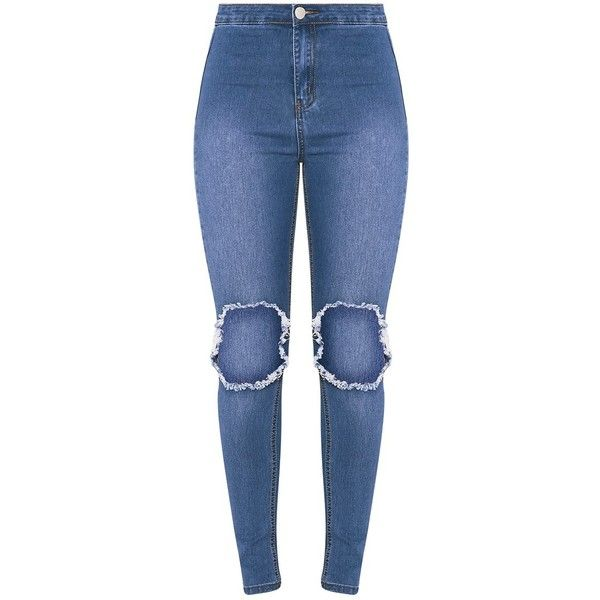 Kylie Mid Wash Open Knee Rip High Waisted Skinny Jean ($31) ❤ liked on Polyvore featuring jeans, pants, high rise jeans, high-waisted jeans, blue jeans, blue skinny jeans and distressed jeans