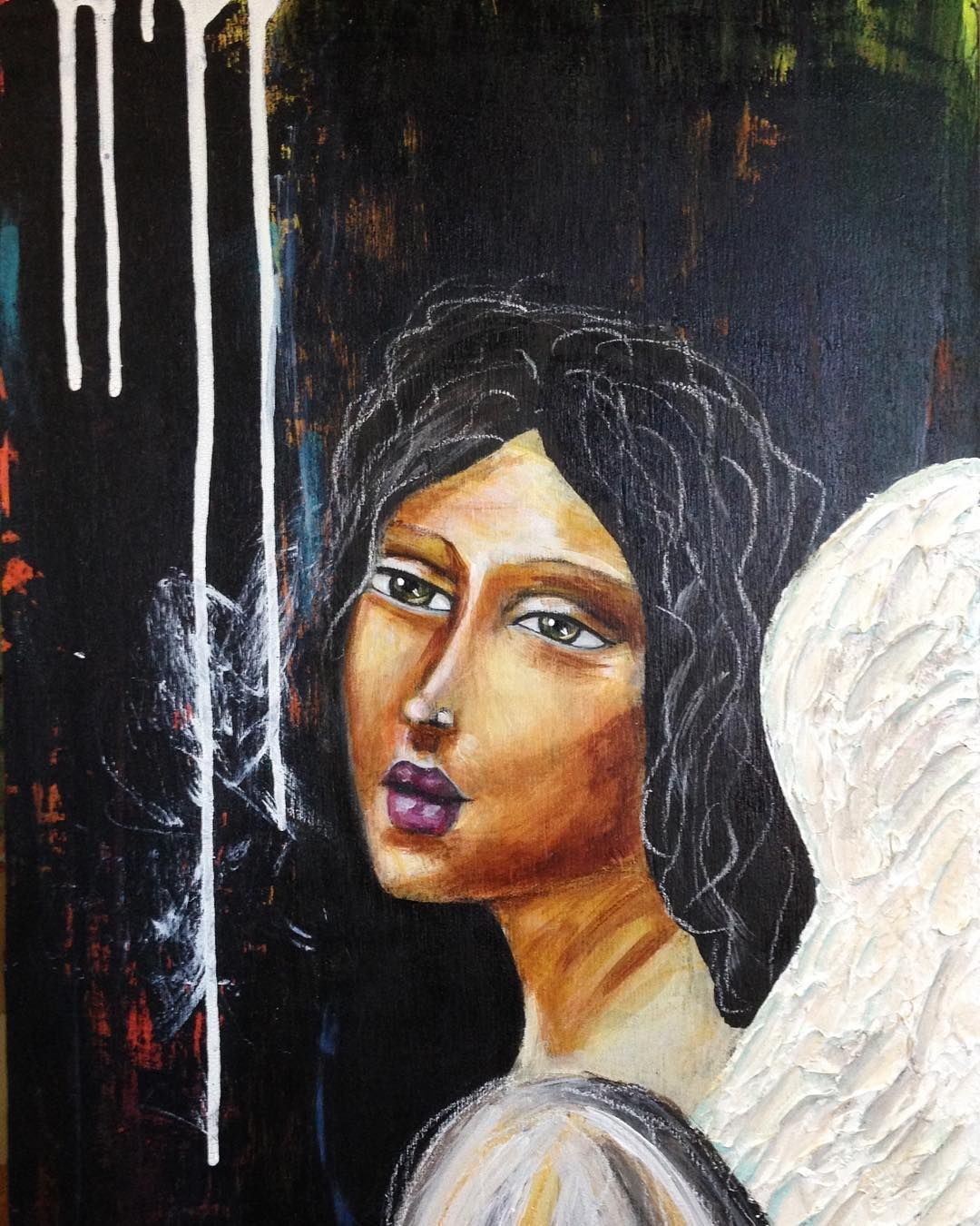 She is done and available! So happy with how the wings came out. Raised texture.  #mixedmedia #angel #davinci #artforsale #londonartist #irisimpressionsart #beabitmoreyou