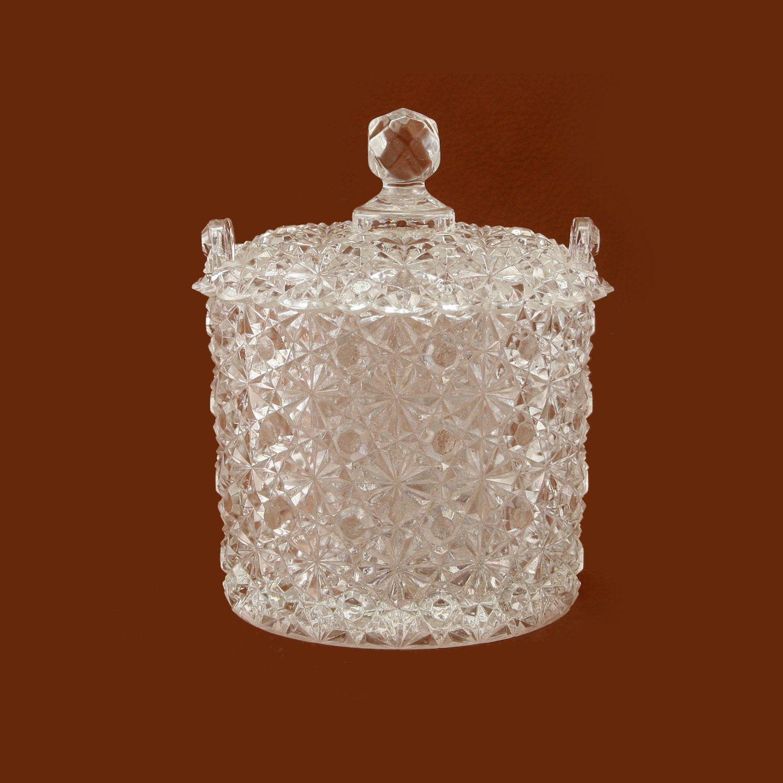 Vintage Clear Pressed GLASS BASKET with Handle - Trinket