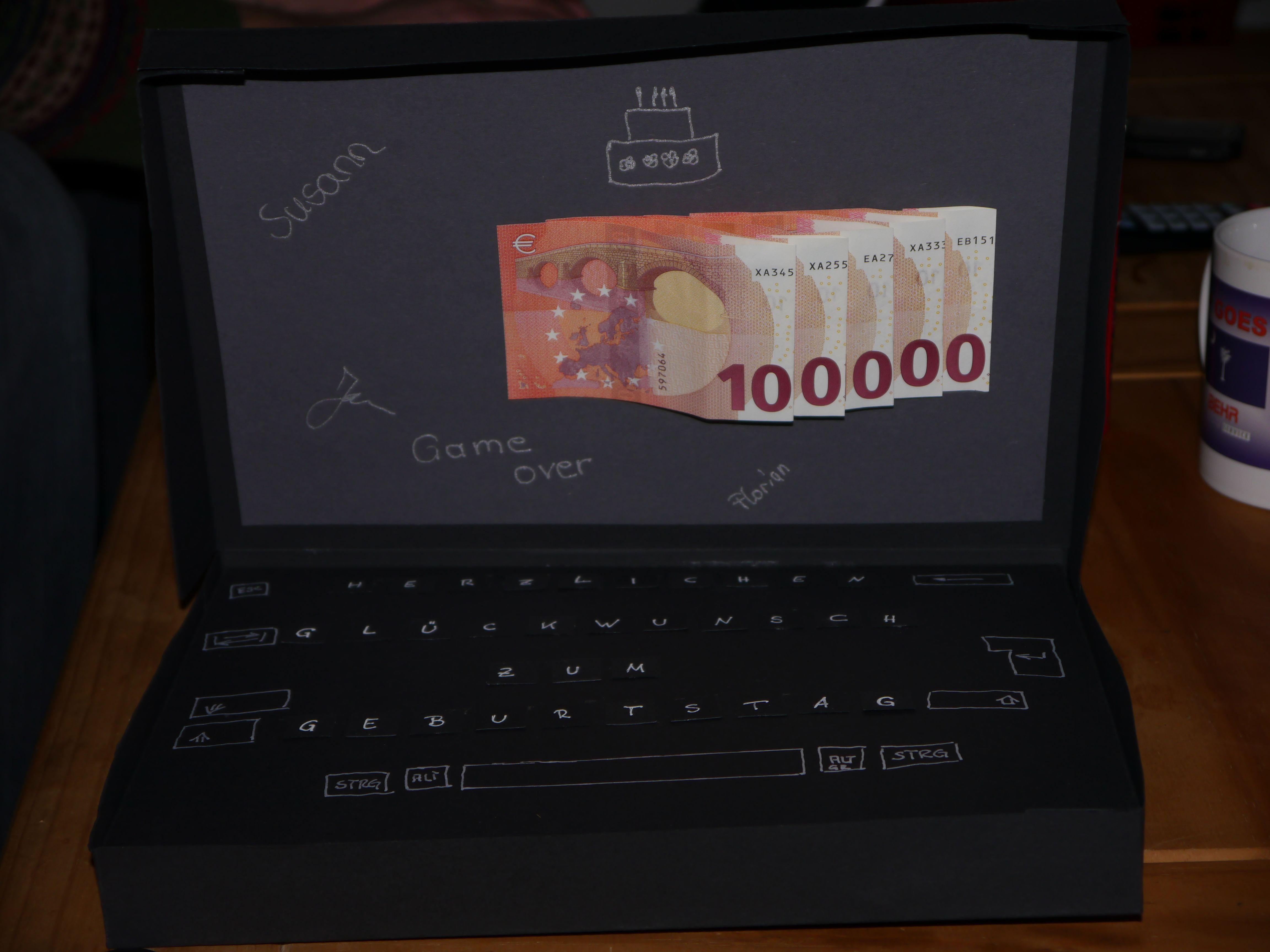 Geldgeschenk Laptop Money Present Gift Geschenke Presents Gift