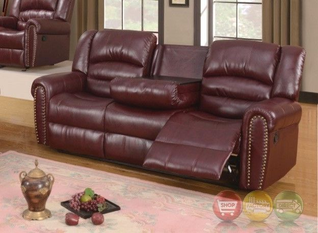 686 Burgundy Leather Reclining Sofa With Console And Nailhead Trim  #RoyalPalace #Transitional