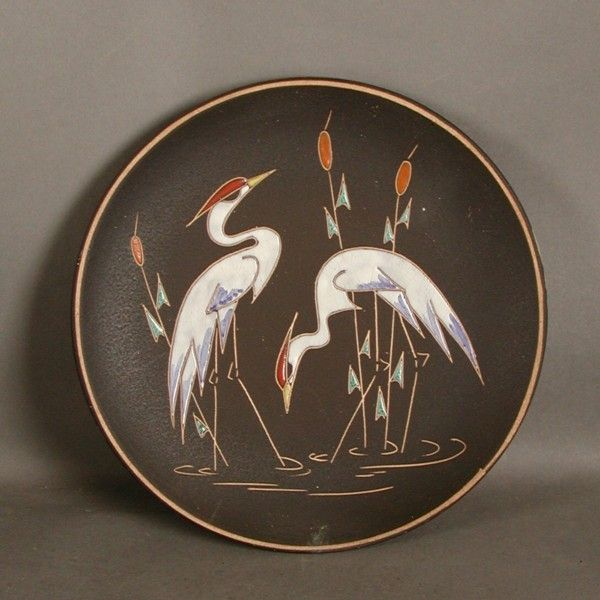 Ceramic wall plate. Cranes. Germany. 1950 - 1955. & Ruscha. Ceramic wall plate. Cranes. Germany. 1950 - 1955 ...