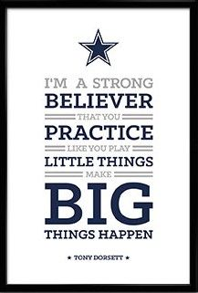 Dallas Cowboys Quotes | Tony Dorsett 33 Dallas Cowboys Inspirational Believer Quote Poster