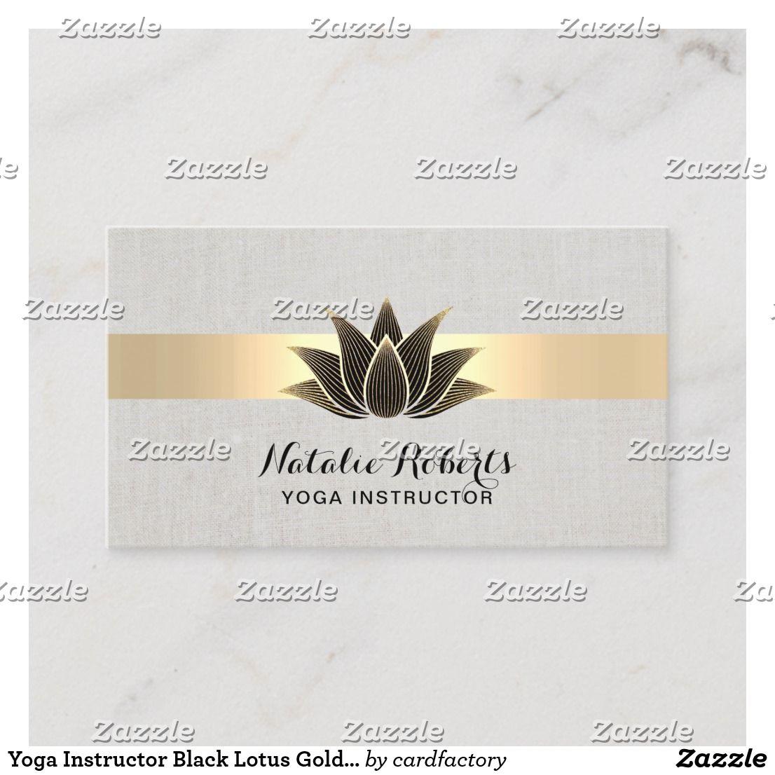 Yoga Instructor Black Lotus Gold Stripe Elegant Business