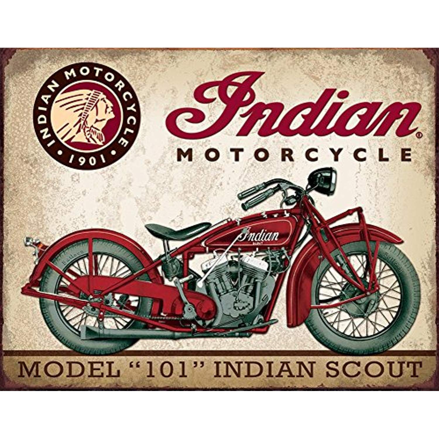 "Indian Motorcycle /""Scout/"" Advertising Rustic Tin Wall Decor Advertising Sign NEW"