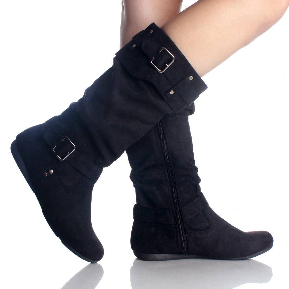 Black Mid Calf Boots Flat Slouch Buckle Zipper Faux Suede Womens Shoes