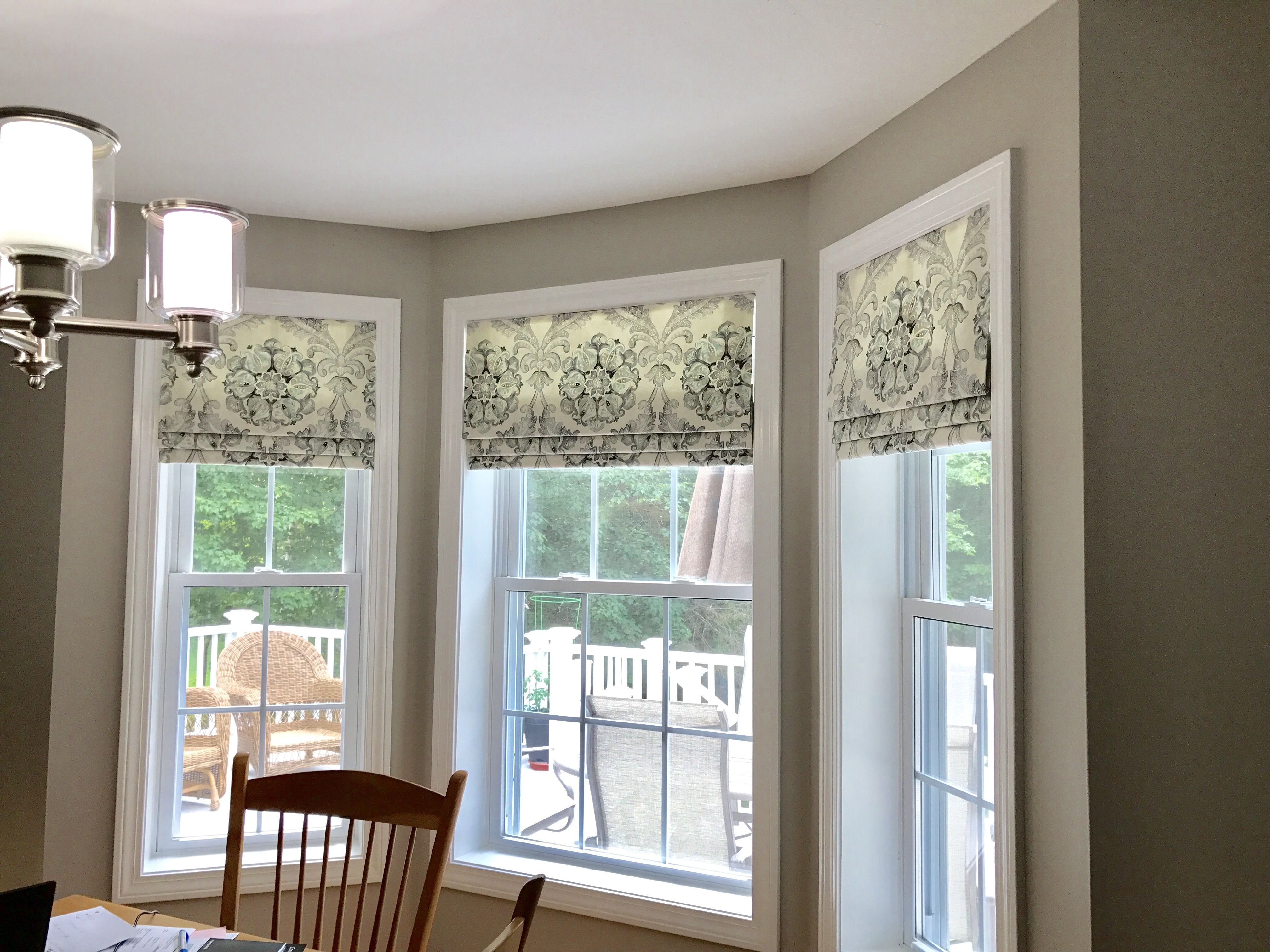 Mock Roman Shades In Bay Window Faux