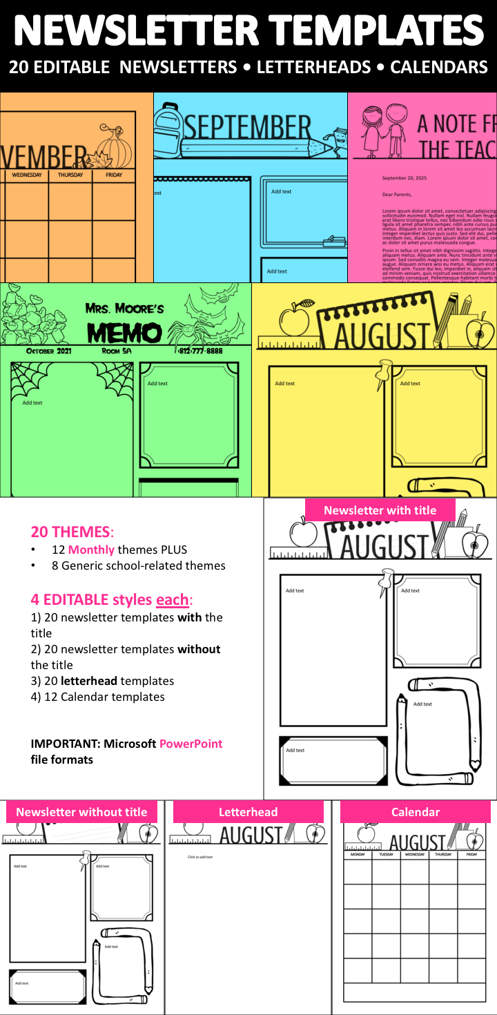His Comprehensive Monthly And School Themed Template Includes 20 Themes 12 8 Generic Related For Various