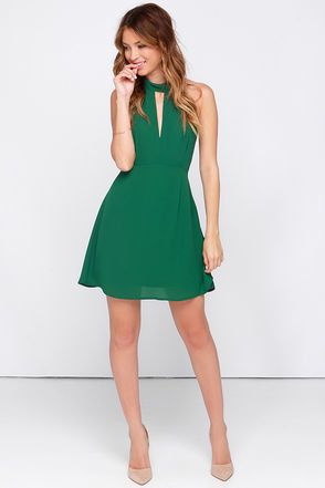 Pretty Green Dress - Halter Dress - Sleeveless Dress - $39.00 ...
