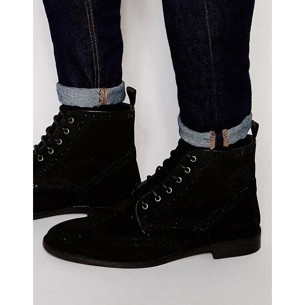 Buy Men Shoes / Asos Brogue Boots Black Leather