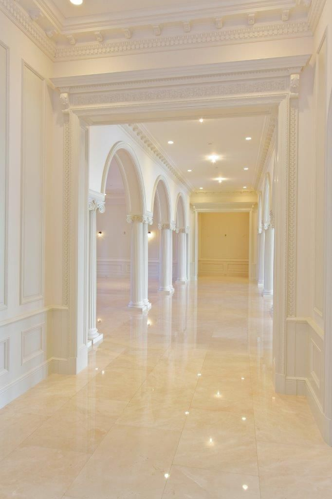 Palm Beach Residence « Marmol | Crema Marfil Marble hallway ... on contemporary marble floor, white marble floor, shiny marble floor,