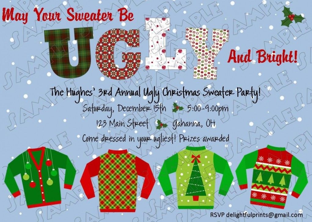 Ugly Sweater Christmas Party Invitations Wording Party Ideas