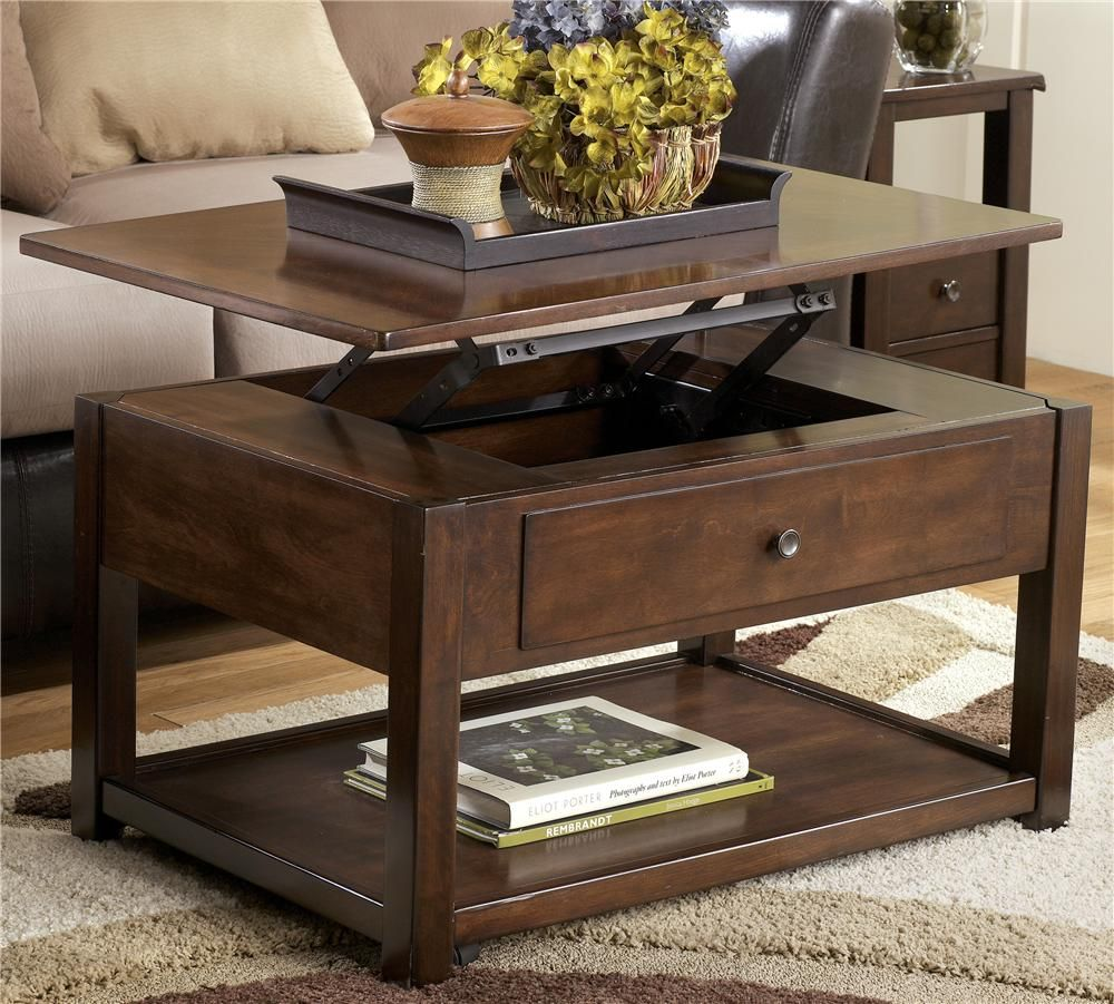 Marion lift top cocktail table with 1 shelf by signature