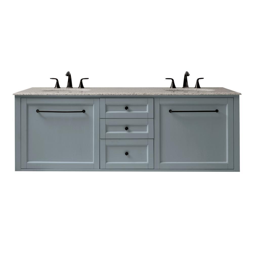 Home Decorators Collection Hamilton 68 In W Wall Hung Double Vanity In Grey With Granite Vanity Top In Grey With White Sink 9909000270 The Home Depot Granite Vanity Tops Marble Vanity